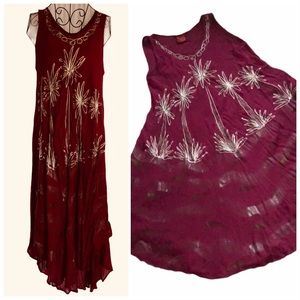 """Berry Embroidered Swing Dress """"free size"""""""